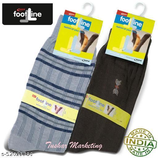 Rupa Footline Men's Cotton Calf Length Formal 2 Pair Socks|Fline-1|FL_2(2013_BROWN,4003_GREY)