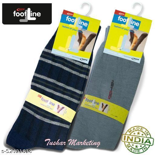 Rupa Footline Men's Cotton Calf Length Formal 2 Pair Socks|Fline-1|FL_2(2032_GREY,4003_NAVY)