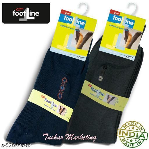 Rupa Footline Men's Cotton Calf Length Formal 2 Pair Socks|Fline-1|FL_2(2006_OLIVE,3004_NAVY)