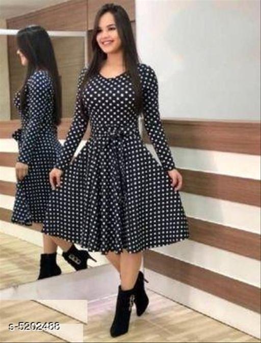 Printed Black Calf-Length Crepe Dress