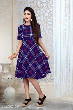 Checked Navy Blue Knee length Crepe Dress