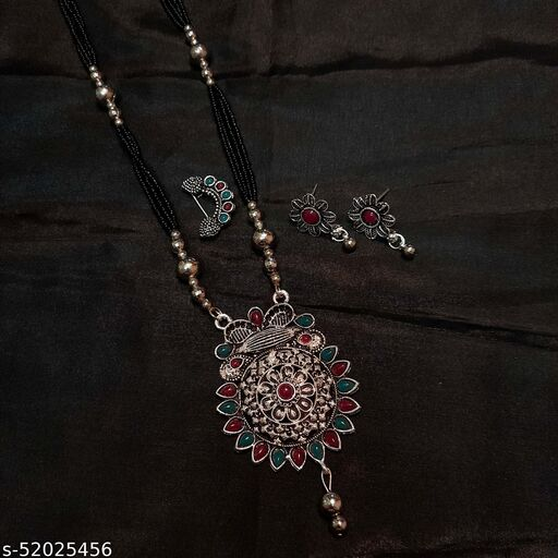 Oxidised Silver Plated Long 30 Inch Combo Mangalsutra Jewellery Set With Nosepin Earring 6