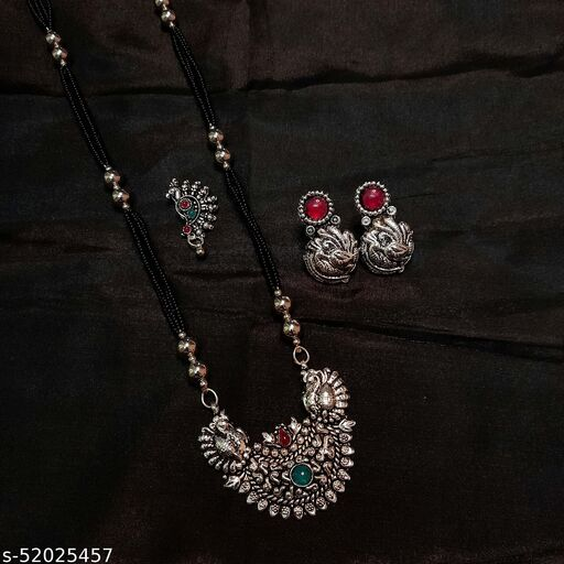 Oxidised Silver Plated Long 30 Inch Combo Mangalsutra Jewellery Set With Nosepin Earring 5