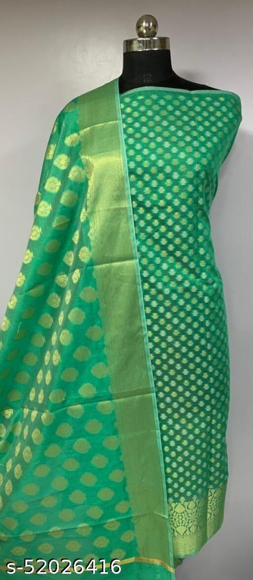 (4Mint Green) Fashionable Banarsi Cotton Suit And Dress Material