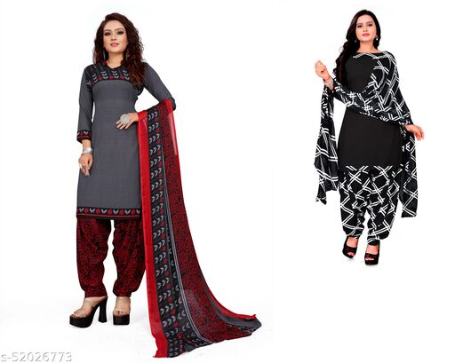 INDIAN HERITAGE Creppe Printed Kurta & Patiyala Material Combo Pack  Of 2 (Unstitched) Suits