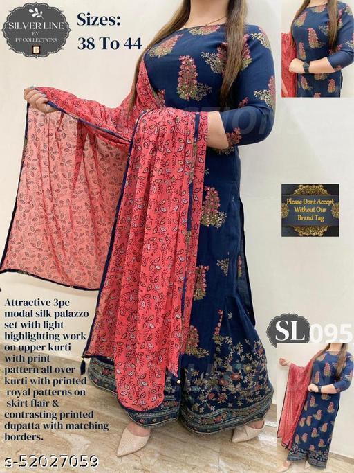 Rayon Printed Kurta With Sharara and Dupatta Set