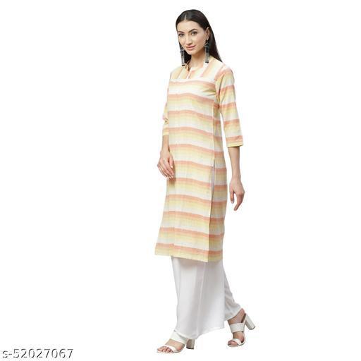 Ladily Women's Multicolor cotton Check  3/4 Sleeve Mandrin Neck Casual kurta