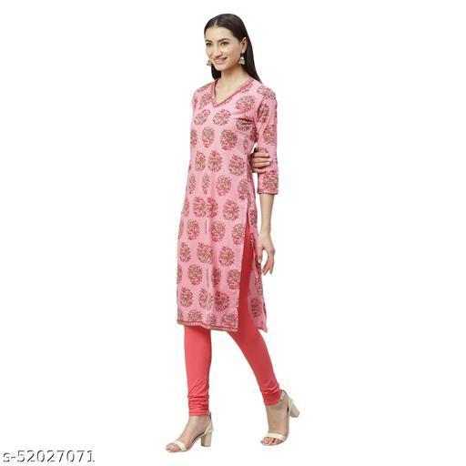 Ladily Women's Pink Cotton Printed  3/4 Sleeve Round Neck Casual Kurta