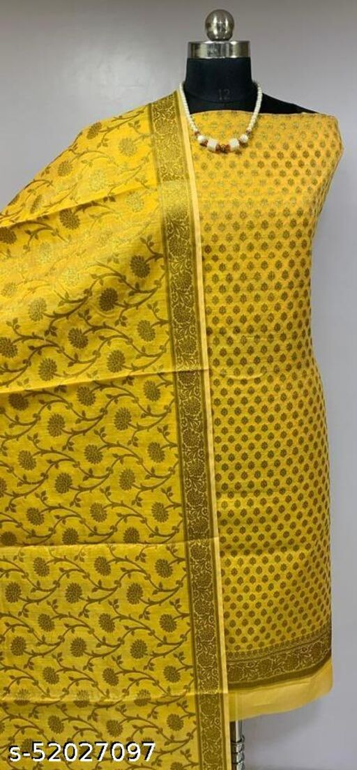 (6Yellow) Fashionable Banarsi Cotton Suit And Dress Material