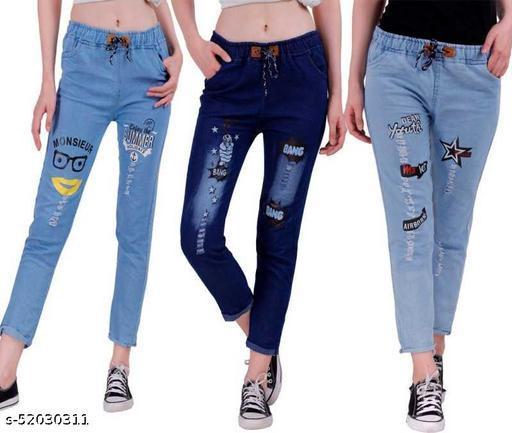 Women's Denim Jeans Elastic Waist Drawstring Stretch Side Pockets Summer Light Bang Dark And Star Light  Casual Blue Jeans Combo Pack Of 3