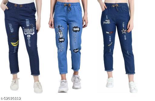 Women's Denim Jeans Elastic Waist Drawstring Stretch Side Pockets Summer Dark Bang Light And Star Dark Casual Blue Jeans Combo Pack Of 3