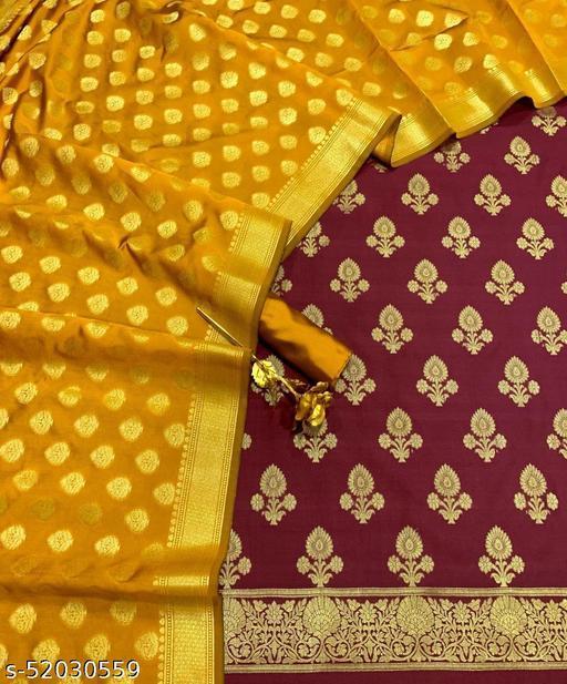 (21Maroon) Fabulous Banarsi Contrass Silk Suit And Dress Material