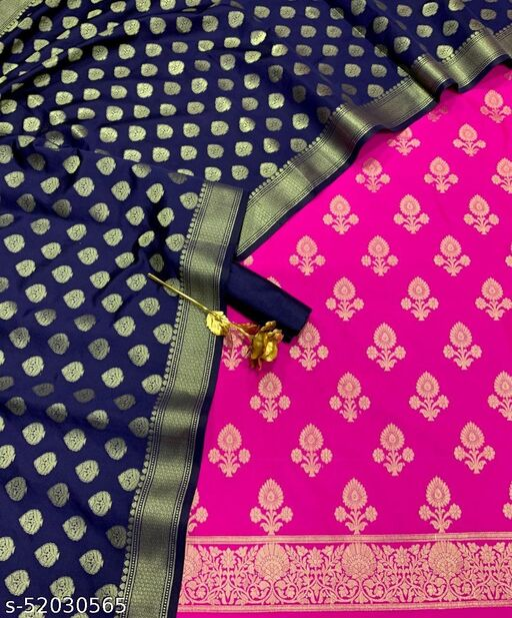 (21Pink) Fabulous Banarsi Contrass Silk Suit And Dress Material