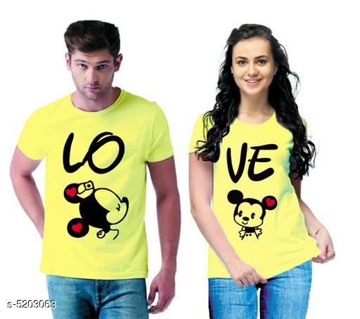 Tshirts  Stylish Printed Couple T-shirts  *Fabric* Men Tshirt - Cotton Blend, Women Tshirt - Cotton Blend  *Sleeves* Half Sleeves Are Included  *Size* Women  *Length* Women Tshirt  *Type* Stitched  *Description* It Has 1 Piece Of Men's T-shirt & 1 Piece Of Women's T-shirt Work - Printed  *Sizes Available* MEN - S/ WOMEN - XS, MEN - S/ WOMEN - S, MEN - M/ WOMEN - S, MEN - L/ WOMEN - S, MEN - XL/ WOMEN - S, MEN - XXL/ WOMEN - S, MEN - S/ WOMEN - M, MEN - M/ WOMEN - M, MEN - L/ WOMEN - M, MEN - XL/ WOMEN - M, MEN - XXL/ WOMEN - M, MEN - S/ WOMEN - L, MEN - M/ WOMEN - L, MEN - L/ WOMEN - L, MEN - XL/ WOMEN - L, MEN - XXL/ WOMEN - L, MEN - S/ WOMEN - XL, MEN - M/ WOMEN - XL, MEN - L/ WOMEN - XL, MEN - XL/ WOMEN - XL, MEN - XXL/ WOMEN - XL, MEN - S/ WOMEN - XXL, MEN - M/ WOMEN - XXL, MEN - L/ WOMEN - XXL, MEN - XL/ WOMEN - XXL, MEN - XXL/ WOMEN - XXL *    Catalog Name:  Stylish Printed Couple T-shirts CatalogID_769824 C79-SC1021 Code: 364-5203063-