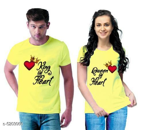 Tshirts  Stylish Printed Couple T-shirts  *Fabric* Men Tshirt - Cotton Blend, Women Tshirt - Cotton Blend  *Sleeves* Half Sleeves Are Included  *Size* Women  *Length* Women Tshirt  *Type* Stitched  *Description* It Has 1 Piece Of Men's T-shirt & 1 Piece Of Women's T-shirt Work - Printed  *Sizes Available* MEN - S/ WOMEN - S, MEN - M/ WOMEN - S, MEN - L/ WOMEN - S, MEN - XL/ WOMEN - S, MEN - XXL/ WOMEN - S, MEN - S/ WOMEN - M, MEN - M/ WOMEN - M, MEN - L/ WOMEN - M, MEN - XL/ WOMEN - M, MEN - XXL/ WOMEN - M, MEN - S/ WOMEN - L, MEN - M/ WOMEN - L, MEN - L/ WOMEN - L, MEN - XL/ WOMEN - L, MEN - XXL/ WOMEN - L, MEN - S/ WOMEN - XL, MEN - M/ WOMEN - XL, MEN - L/ WOMEN - XL, MEN - XL/ WOMEN - XL, MEN - XXL/ WOMEN - XL, MEN - S/ WOMEN - XXL, MEN - M/ WOMEN - XXL, MEN - L/ WOMEN - XXL, MEN - XL/ WOMEN - XXL, MEN - XXL/ WOMEN - XXL *    Catalog Name:  Stylish Printed Couple T-shirts CatalogID_769824 C79-SC1021 Code: 364-5203066-