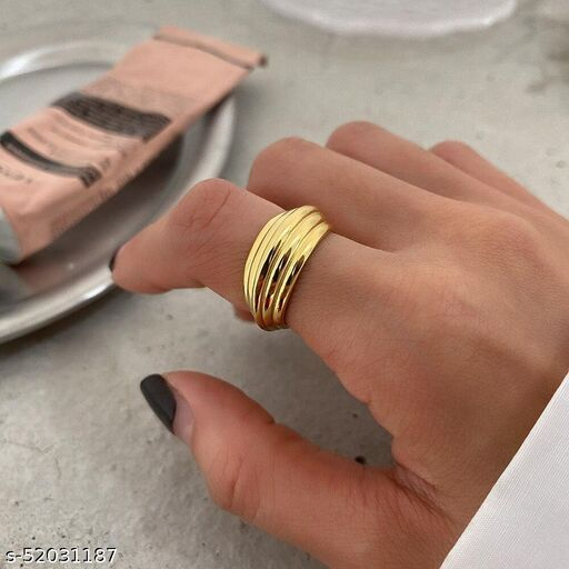 Arzonai fashion striped personality ring female ins cold and simple temperament all-match ring