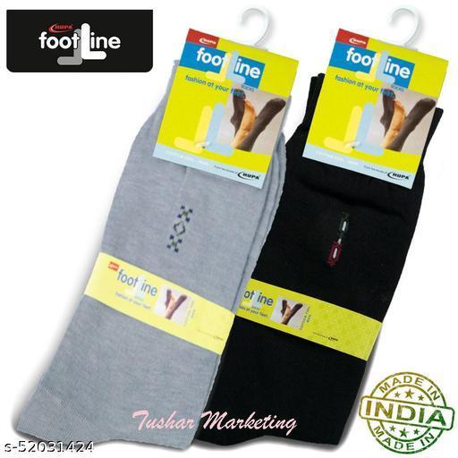Rupa Footline Men's Cotton Calf Length Formal 2 Pair Socks|Fline-1|FL_2(2032_BLACK,3005_GREY)