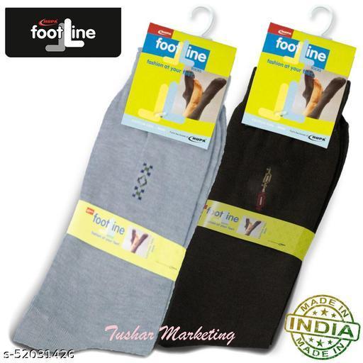 Rupa Footline Men's Cotton Calf Length Formal 2 Pair Socks|Fline-1|FL_2(2032_BROWN,3005_GREY)
