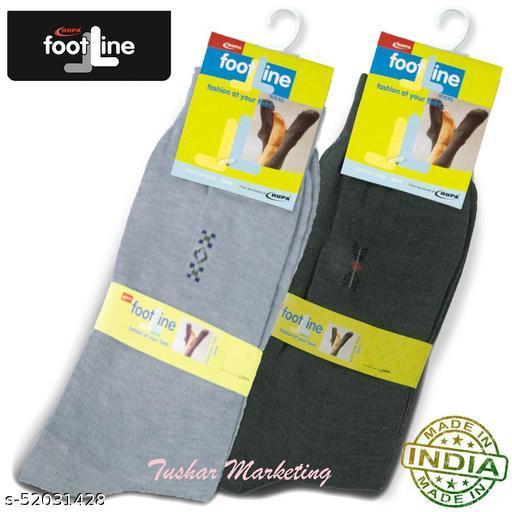 Rupa Footline Men's Cotton Calf Length Formal 2 Pair Socks|Fline-1|FL_2(2013_OLIVE,3005_GREY)