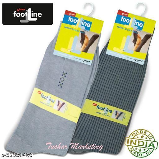 Rupa Footline Men's Cotton Calf Length Formal 2 Pair Socks|Fline-1|FL_2(RIB_GREY,3005_GREY)