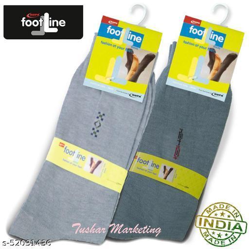 Rupa Footline Men's Cotton Calf Length Formal 2 Pair Socks|Fline-1|FL_2(2032_GREY,3005_GREY)