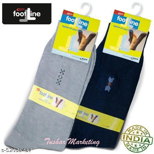 Rupa Footline Men's Cotton Calf Length Formal 2 Pair Socks|Fline-1|FL_2(2013_NAVY,3005_GREY)