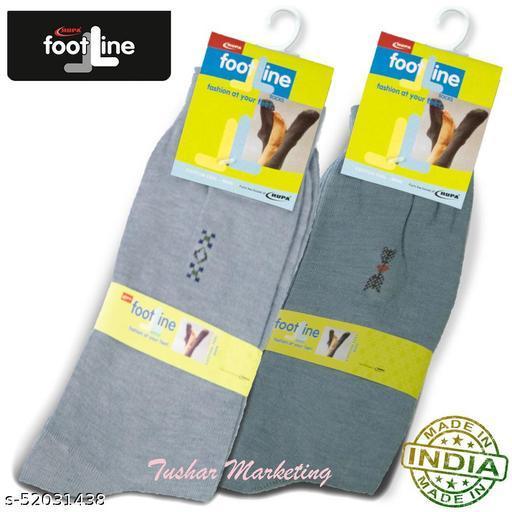 Rupa Footline Men's Cotton Calf Length Formal 2 Pair Socks|Fline-1|FL_2(2013_GREY,3005_GREY)