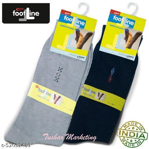 Rupa Footline Men's Cotton Calf Length Formal 2 Pair Socks|Fline-1|FL_2(2032_NAVY,3005_GREY)