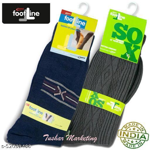 Rupa Footline Men's Cotton Calf Length Formal 2 Pair Socks|Fline-1|FL_2(2108_OLIVE,3005_NAVY)