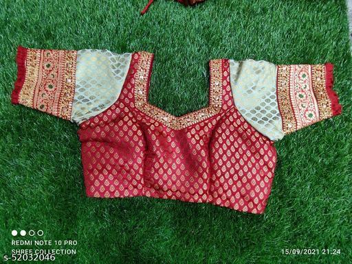 Red. And pesta green Pure katan silk with hakoba  sleves blouse