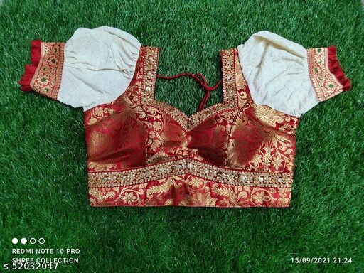 Red and off white Pure katan silk with hakoba  sleves blouse