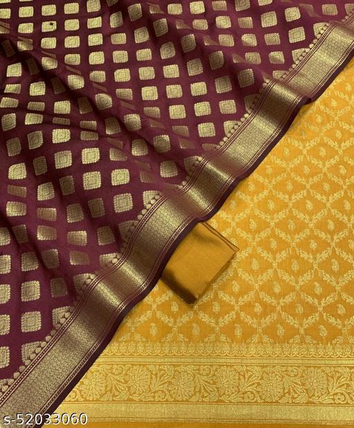 (17Mustard) Weddings Special Banarsi Silk Suit And Dress Material