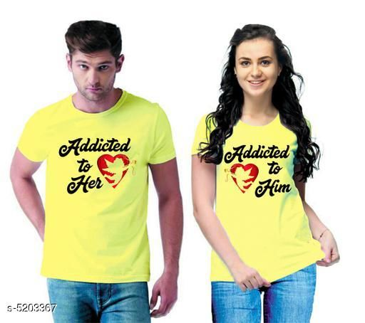 Tshirts  Stylish Printed Couple T-shirts  *Fabric* Men Tshirt - Cotton Blend, Women Tshirt - Cotton Blend  *Sleeves* Half Sleeves Are Included  *Size* Women  *Length* Women Tshirt  *Type* Stitched  *Description* It Has 1 Piece Of Men's T-shirt & 1 Piece Of Women's T-shirt Work - Printed  *Sizes Available* MEN - S/ WOMEN - S, MEN - M/ WOMEN - S, MEN - L/ WOMEN - S, MEN - XL/ WOMEN - S, MEN - XXL/ WOMEN - S, MEN - S/ WOMEN - M, MEN - M/ WOMEN - M, MEN - L/ WOMEN - M, MEN - XL/ WOMEN - M, MEN - XXL/ WOMEN - M, MEN - S/ WOMEN - L, MEN - M/ WOMEN - L, MEN - L/ WOMEN - L, MEN - XL/ WOMEN - L, MEN - XXL/ WOMEN - L, MEN - S/ WOMEN - XL, MEN - M/ WOMEN - XL, MEN - L/ WOMEN - XL, MEN - XL/ WOMEN - XL, MEN - XXL/ WOMEN - XL, MEN - XS/ WOMEN - XXL, MEN - S/ WOMEN - XXL, MEN - M/ WOMEN - XXL, MEN - L/ WOMEN - XXL, MEN - XL/ WOMEN - XXL, MEN - XXL/ WOMEN - XXL *    Catalog Name:  Stylish Printed Couple T-shirts CatalogID_769884 C79-SC1021 Code: 364-5203367-