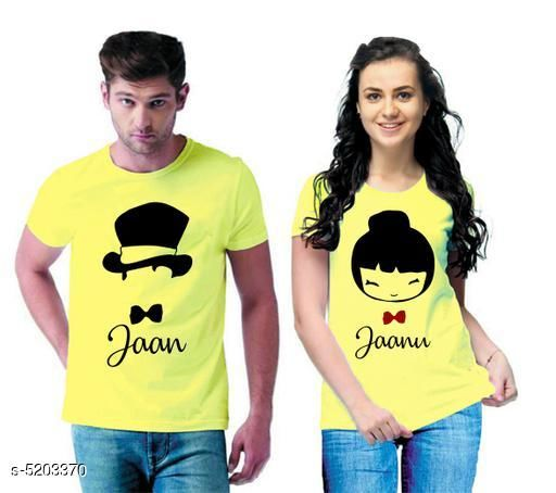 Tshirts  Stylish Printed Couple T-shirts  *Fabric* Men Tshirt - Cotton Blend, Women Tshirt - Cotton Blend  *Sleeves* Half Sleeves Are Included  *Size* Women  *Length* Women Tshirt  *Type* Stitched  *Description* It Has 1 Piece Of Men's T-shirt & 1 Piece Of Women's T-shirt Work - Printed  *Sizes Available* MEN - S/ WOMEN - S, MEN - M/ WOMEN - S, MEN - L/ WOMEN - S, MEN - XL/ WOMEN - S, MEN - XXL/ WOMEN - S, MEN - S/ WOMEN - M, MEN - M/ WOMEN - M, MEN - L/ WOMEN - M, MEN - XL/ WOMEN - M, MEN - XXL/ WOMEN - M, MEN - S/ WOMEN - L, MEN - M/ WOMEN - L, MEN - L/ WOMEN - L, MEN - XL/ WOMEN - L, MEN - XXL/ WOMEN - L, MEN - S/ WOMEN - XL, MEN - M/ WOMEN - XL, MEN - L/ WOMEN - XL, MEN - XL/ WOMEN - XL, MEN - XXL/ WOMEN - XL, MEN - XS/ WOMEN - XXL, MEN - S/ WOMEN - XXL, MEN - M/ WOMEN - XXL, MEN - L/ WOMEN - XXL, MEN - XL/ WOMEN - XXL, MEN - XXL/ WOMEN - XXL *    Catalog Name:  Stylish Printed Couple T-shirts CatalogID_769884 C79-SC1021 Code: 364-5203370-
