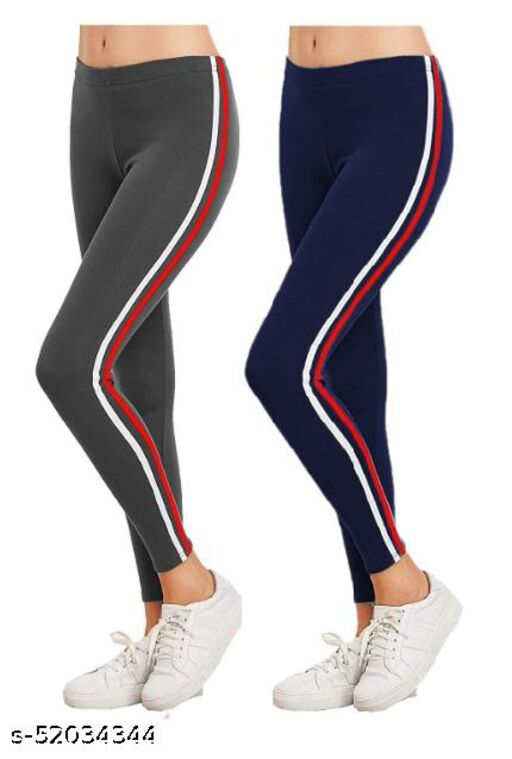 TEF Regular Fit Charcole Black and Navy Blue Color Yoga Strip Jeggings for Women ( Free Size )