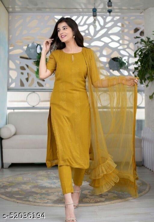 Lemon Yellow rayon thread and seqeuence work salwar suit