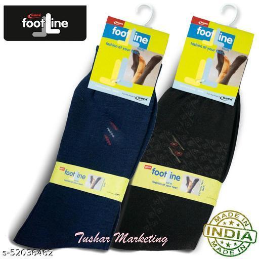 Rupa Footline Men's Cotton Calf Length Formal 2 Pair Socks|Fline-1|FL_2(1007A_BLACK,3007_NAVY)