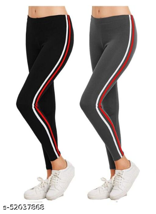 TIC Regular Fit Black and Charcole Black Color Yoga Strip Jeggings for Women ( Free Size )