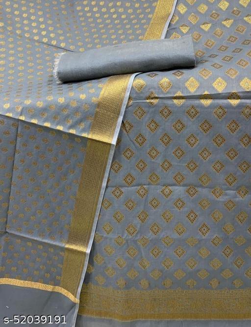 (7Grey) Fabulous Antic Zari Woven Banarsi Handloom Cotton Suit And Dress Material