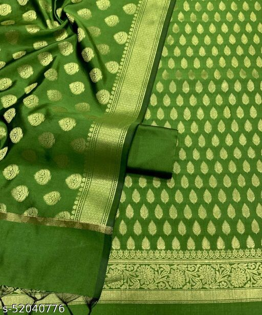 (3Mint Green) TrenDy Fabulous Banarsi Silk Suit And Dress Material