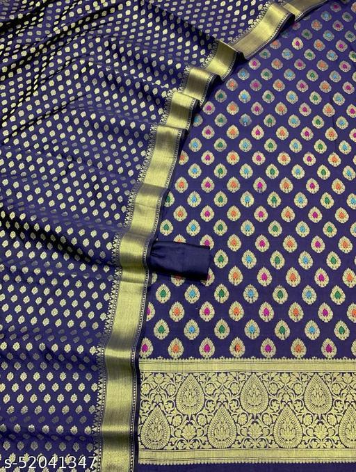 (19Navy Blue) TrenDy Banarsi Jaquard Multi Mina Silk Suit And Dress Material