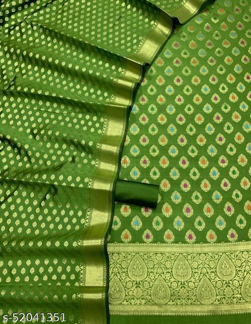 (19Mint Green) TrenDy Banarsi Jaquard Multi Mina Silk Suit And Dress Material