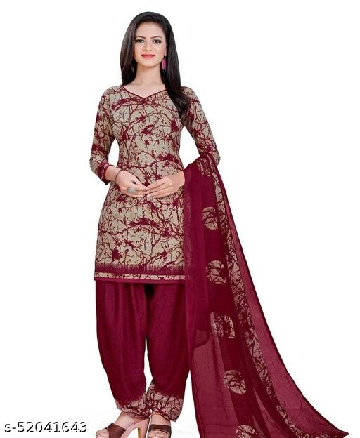 KRISHNAA CREATION WOMEN'S STYLISH FRENCH CREPE LEONE UNSTITCHED DRESS MATERIAL WITH TOP BOTTOM & DUPATTA