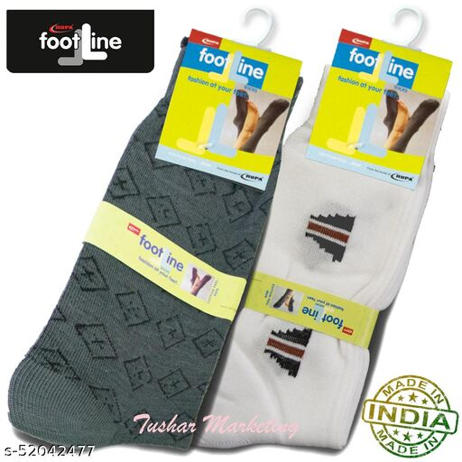 Rupa Footline Men's Cotton Calf Length Formal 2 Pair Socks|Fline-1|FL_2(2124_WH/BLK,3016_OLIVE)
