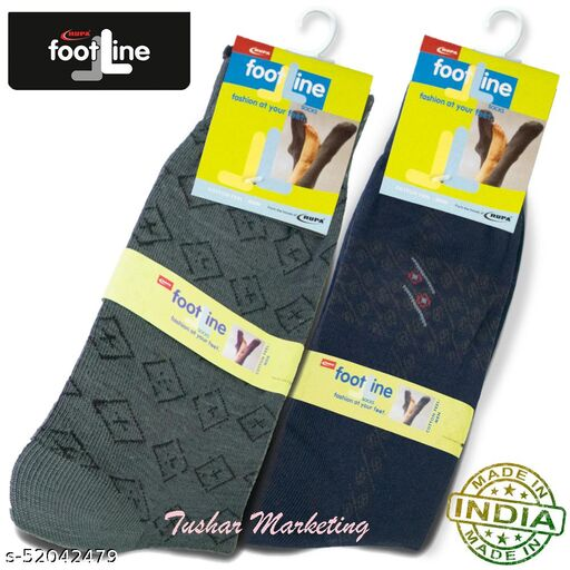 Rupa Footline Men's Cotton Calf Length Formal 2 Pair Socks|Fline-1|FL_2(1007A_NAVY,3016_OLIVE)