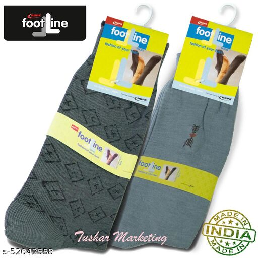 Rupa Footline Men's Cotton Calf Length Formal 2 Pair Socks|Fline-1|FL_2(2013_GREY,3016_OLIVE)