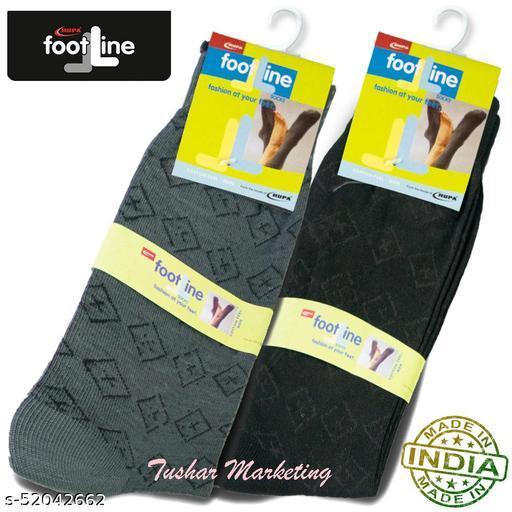 Rupa Footline Men's Cotton Calf Length Formal 2 Pair Socks|Fline-1|FL_2(3016_BLACK,3016_OLIVE)