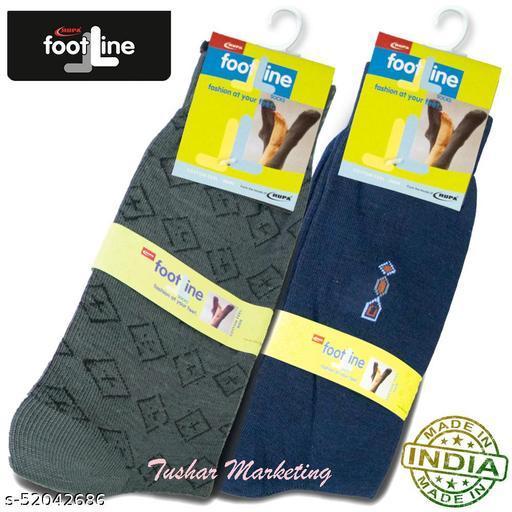 Rupa Footline Men's Cotton Calf Length Formal 2 Pair Socks|Fline-1|FL_2(3006_NAVY,3016_OLIVE)