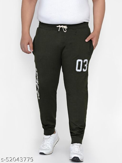 John Pride Plus Size Men's Casual Olive Lower For Men Track Pants