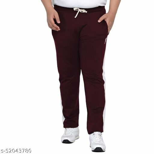 John Pride Plus Size Men's Casual Burgundy Lower For Men Track Pants